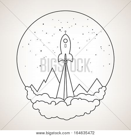 Spaceship on a background of the starry sky and mountains, black and white illustration
