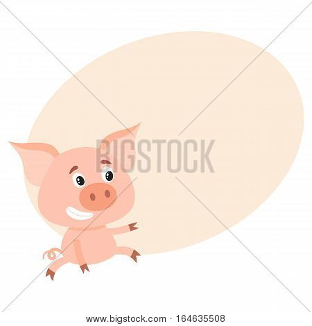 Funny little pig sitting awkwardly and pointing to something, cartoon vector on background with place for text. Cute little pig sitting like a child and poiting to the left, decoration element