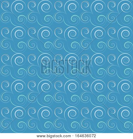 Seamless floral spiral pattern. Swirl, twirl lines. Twist, whirl, torsional light ornament on background. Blue, white colored. Vector