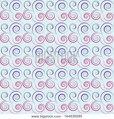 Seamless floral spiral pattern. Swirl, twirl lines. Twist, whirl, torsional ornament on light background. Blue, white red colored. Vector