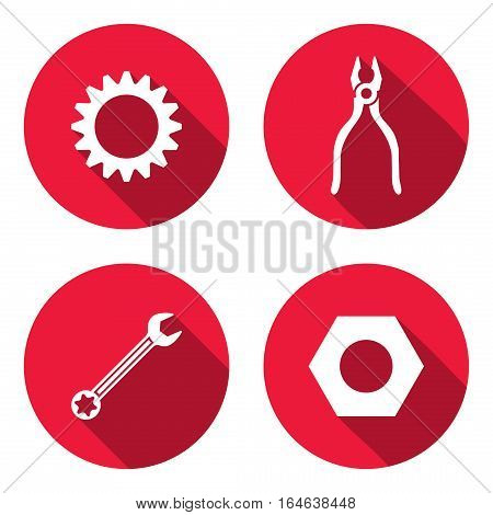 Tool icon set. Cogwheel, bolt nut, wrench key, pliers. Repair, fix symbol. Round circle flat sign with long shadow. Vector illustration