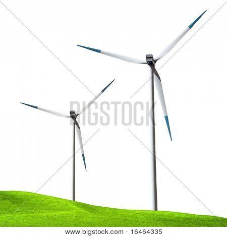 Wind turbines isolated on white background