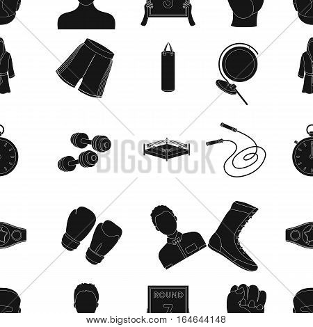 Boxing pattern icons in black design. Big collection of boxing vector symbol stock illustration