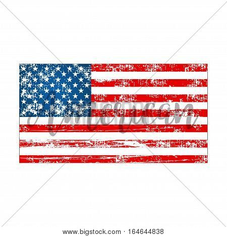 American Flag On A White Background In Flat Style