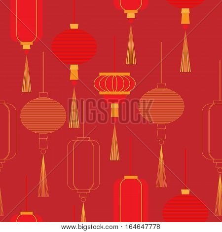 Chinese New Year lanterns in color and outline on a burgundy background. Vector seamless pattern.