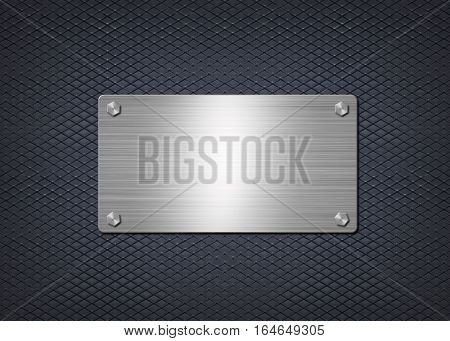 shiny metal aluminum or steel plate is mounted  on dark blue wall, background