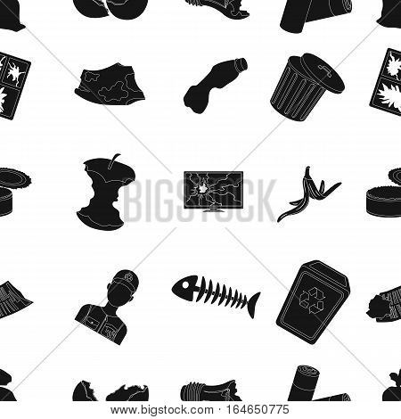 Trash and garbage pattern icons in black design. Big collection of trash and garbage vector symbol stock illustration