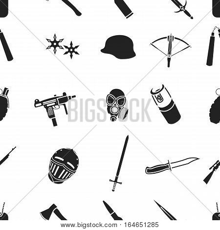 Weapon pattern icons in black style. Big collection of weapon vector symbol stock