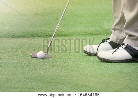 Golf player put a golf ball on a green