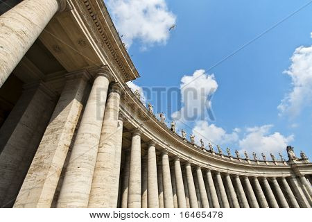 Famous colonnade of St. Peter's Basilica in Vatican