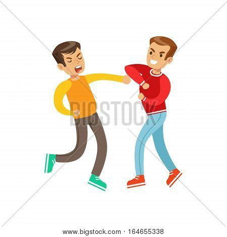 Two Equally Strong Boys Fist Fight Positions, Aggressive Bully In Long Sleeve Red Top Fighting Another Kid Who Is Weaker But Is Fighting Back. Flat Vector Teenage Aggression And Conflict Resulting In Street Fight Illustration.