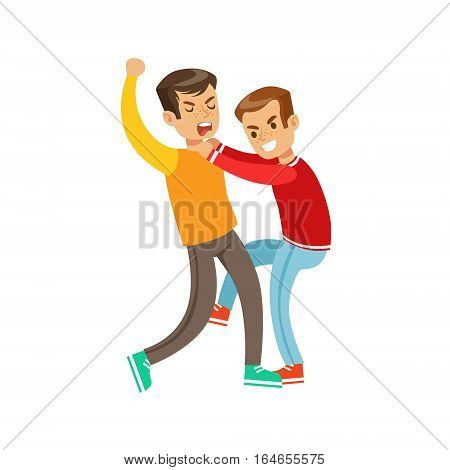 Two Boys Fist Fight Positions, Aggressive Bully In Long Sleeve Red Top Fighting Another Kid Kicking With Leg. Flat Vector Teenage Aggression And Conflict Resulting In Street Fight Illustration.