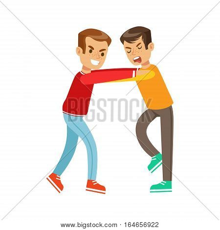 Two Boys Fist Fight Positions, Aggressive Bully In Long Sleeve Red Top Jostling With Another Kid. Flat Vector Teenage Aggression And Conflict Resulting In Street Fight Illustration.