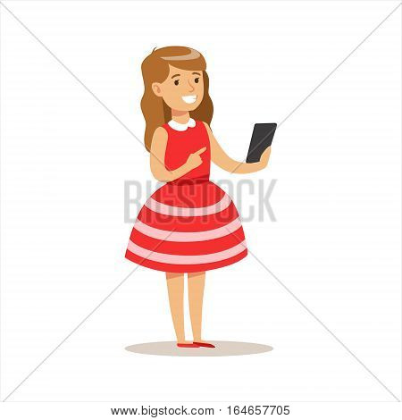Girl In Red Dress With Smartphone, Child And Gadget Illustration With Kid Watching And Playing Using Electronic Device. Teenager Technology Addict Cartoon Vector Character Smiling And Enjoying His Pastime.