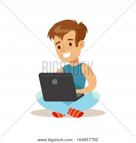 Boy Sitting With Lap Top, Child And Gadget Illustration With Kid Watching And Playing Using Electronic Device. Teenager Technology Addict Cartoon Vector Character Smiling And Enjoying His Pastime.