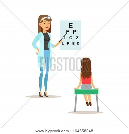 Girl On Medical Eyesight Check-Up With Female Pediatrician Doctor Doing Physical Examination For The Pre-School Health Inspection. Young Child On Medical Appointment Checking General Physical Condition Illustration.