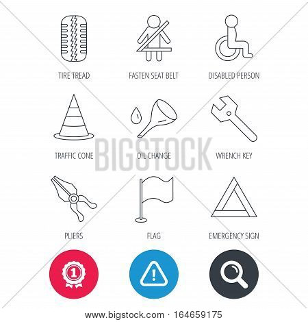 Achievement and search magnifier signs. Tire tread, traffic cone and wrench key icons. Emergency triangle, flag and pliers linear signs. Disabled person icons. Hazard attention icon. Vector