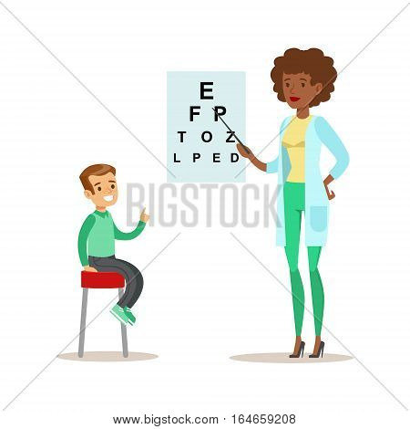 Boy Checkeing His Eyesight With Chart On Medical Check-Up With Female Pediatrician Doctor Doing Physical Examination For The Pre-School Health Inspection. Young Child On Medical Appointment Checking General Physical Condition Illustration.