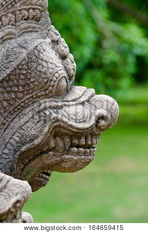Detail of a guardian statue from the Angkorian temple of Prasat Phanom Rung in Northeast Thailand