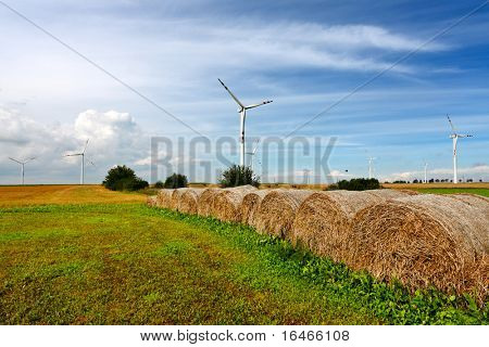 Straw bales and wind turbines
