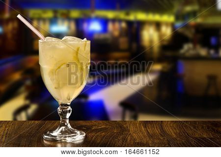 Lemon Fruit Caipirinha Of Brazil In White Background