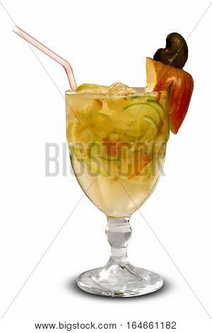 Cashew Fruit Caipirinha Of Brazil In White Background