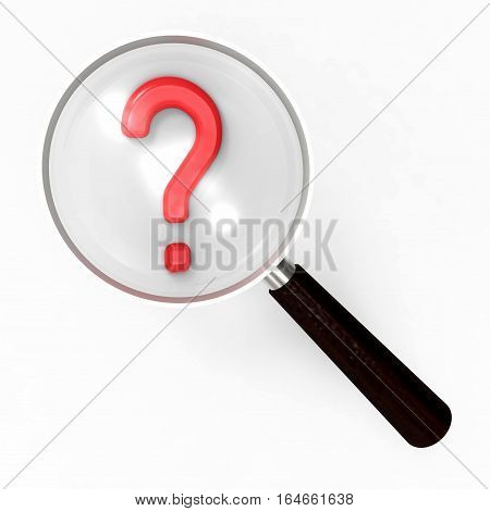 Question mark under magnifying glass isolated on white background 3D rendering