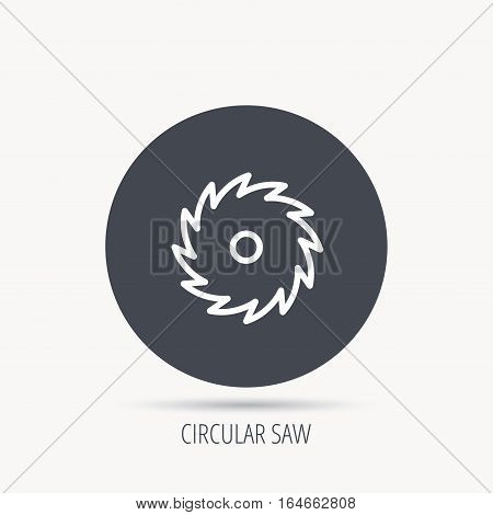 Circular saw icon. Cutting disk sign. Woodworking sawblade symbol. Round web button with flat icon. Vector