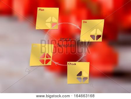 Illustration infographic template with motif of PDCA method consists of four paper stickers with signs. Blurred photo with natural motif of red physalis blooms is used as background.