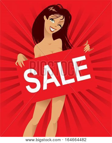 Beautiful nude woman with a poster on a red background, inscription sale, vector illustration