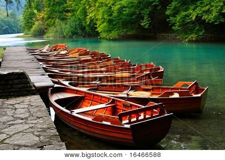 Boats in the national park Plitvice, Croatia