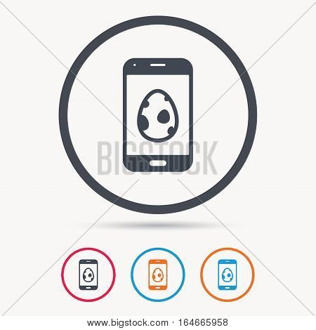 Dinosaur egg icon. Smartphone device symbol. Pokemon egg concept. Colored circle buttons with flat web icon. Vector