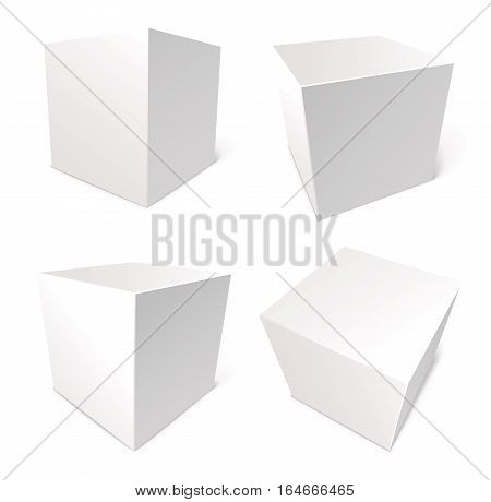 Blank box isolated on white background, vector illustration, set