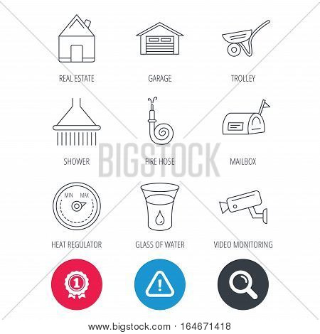 Achievement and search magnifier signs. Real estate, garage and heat regulator icons. Trolley, fire hose and mailbox linear signs. Shower, glass of water and video monitoring icons. Vector