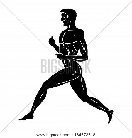 Greek style drawing. Naked running men. Black pattern isolated on white background.