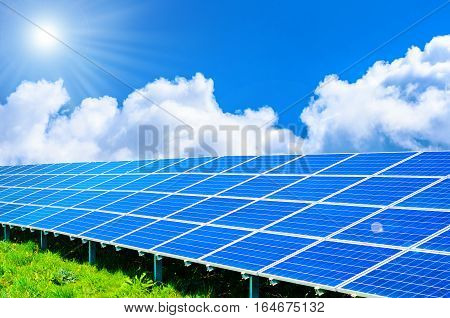 Solar panels on green grass and blue sky