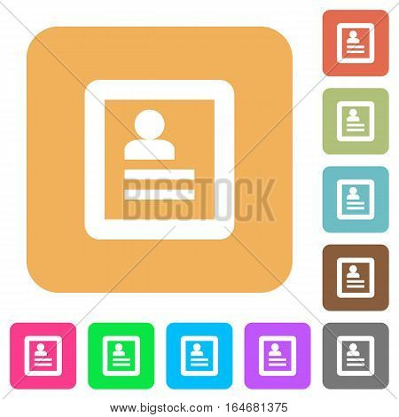 User profile flat icons on rounded square vivid color backgrounds.