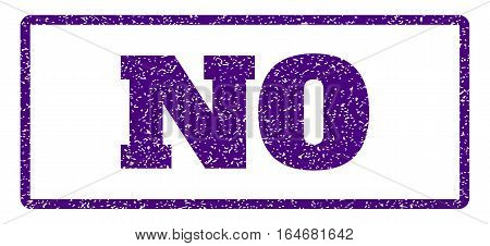 Indigo Blue rubber seal stamp with No text. Vector caption inside rounded rectangular banner. Grunge design and dirty texture for watermark labels. Horisontal emblem on a white background.
