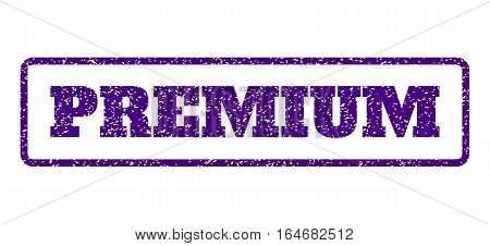 Indigo Blue rubber seal stamp with Premium text. Vector caption inside rounded rectangular shape. Grunge design and unclean texture for watermark labels. Horisontal sticker on a white background.