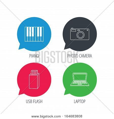 Colored speech bubbles. Photo camera, USB flash and notebook laptop icons. Piano linear sign. Flat web buttons with linear icons. Vector