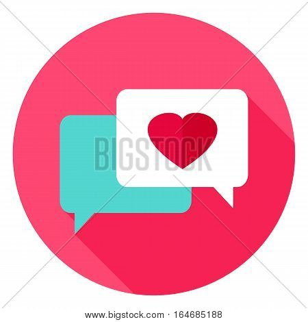 Love Messages Circle Icon. Flat Design Vector Illustration with Long Shadow. Happy Valentine Day Symbol.