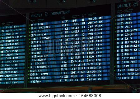 Moscow, Russia - December 25, 2016:  The Schedule Of Flights Displayed On The Display In Airport Vnu