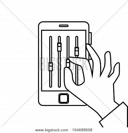 smartphone with musical console app vector illustration design