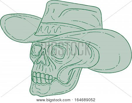 Drawing sketch style illustration of a cowboy skull wearing hat looking to the side set on isolated white background.