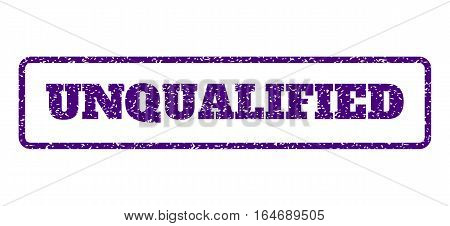Indigo Blue rubber seal stamp with Unqualified text. Vector caption inside rounded rectangular shape. Grunge design and dust texture for watermark labels. Horisontal sign on a white background.