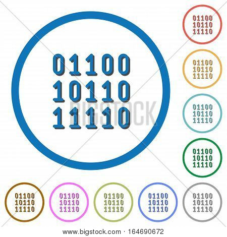 Binary code flat color vector icons with shadows in round outlines on white background