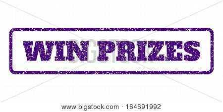 Indigo Blue rubber seal stamp with Win Prizes text. Vector caption inside rounded rectangular shape. Grunge design and dust texture for watermark labels. Horisontal sticker on a white background.