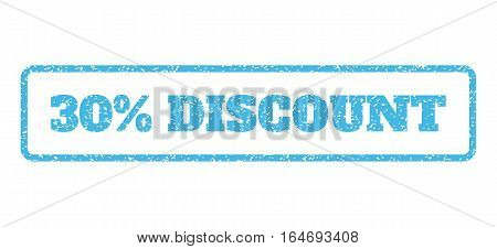 Light Blue rubber seal stamp with 30 Percent Discount text. Vector tag inside rounded rectangular frame. Grunge design and scratched texture for watermark labels.