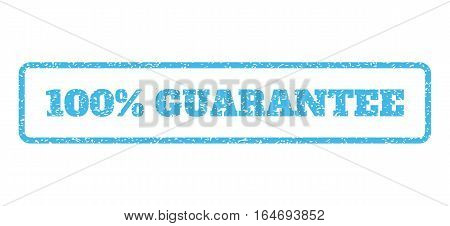 Light Blue rubber seal stamp with 100 Percent Guarantee text. Vector tag inside rounded rectangular banner. Grunge design and dust texture for watermark labels.