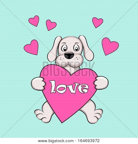 Cartoon dog with hearts and word Love for Valentine greeting card wedding romantic holiday decorate t-shirt tunic bag notebook dishes wall art. eps 10